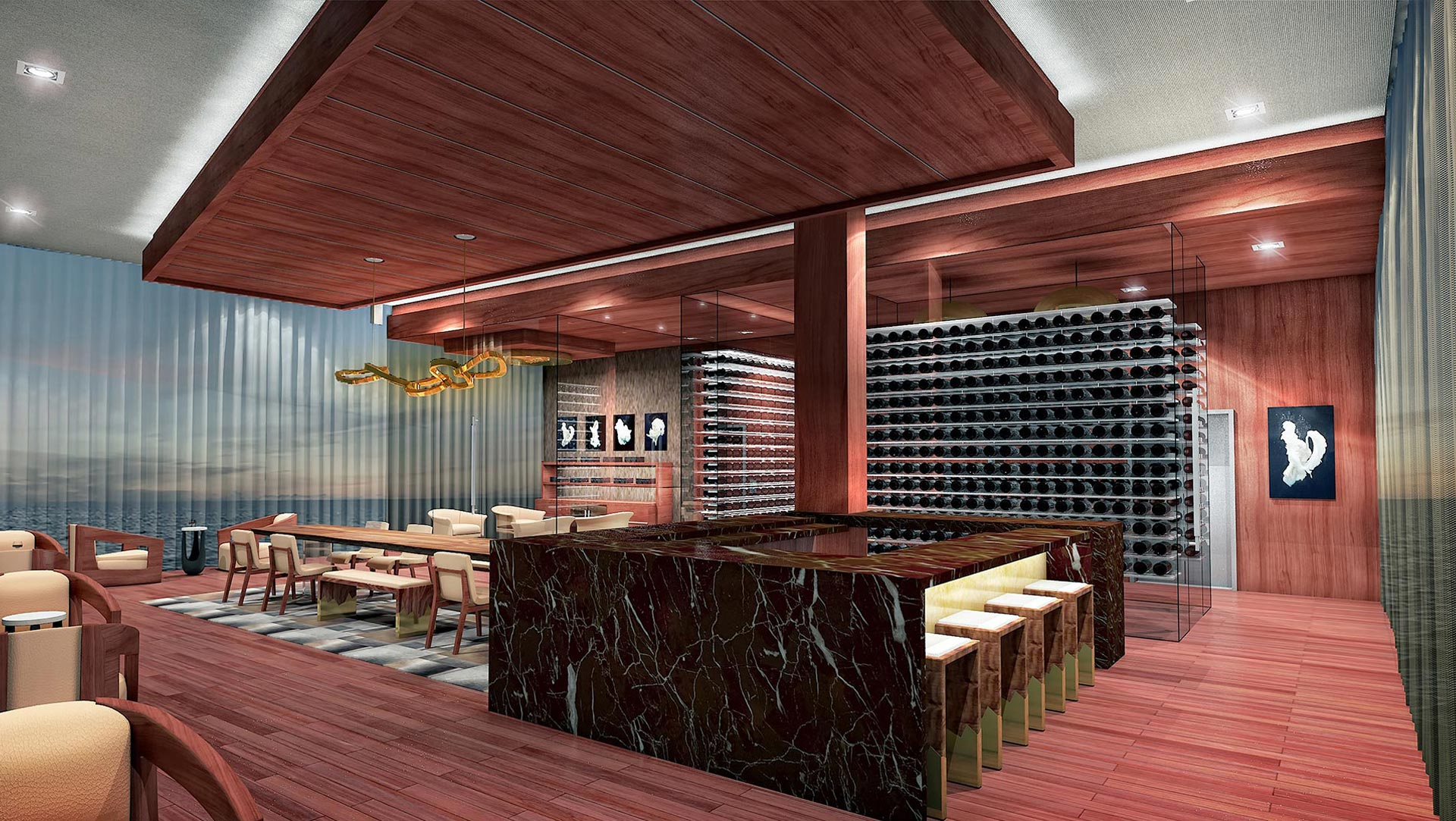 prive at island estates private wine cellar
